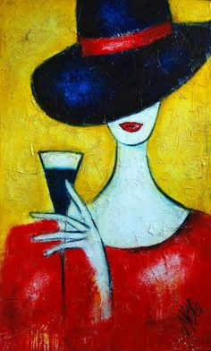 Lady in a black hat Abstract Art Painting by Nebojsa Jovanovic NESAART
