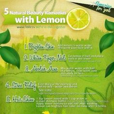 5 natural DIY beauty remedies with lemon for skin, nails, and hair. LOVE
