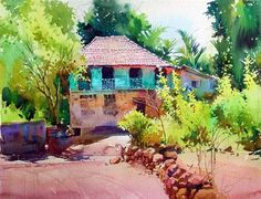 Green House - Landscape painting of a green house in a village in Konkan, done in watercolors
