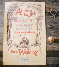 lovely woodland wedding invitations with deer couple - Intimate Backyard Harvest Wedding: Alissa + Jeb