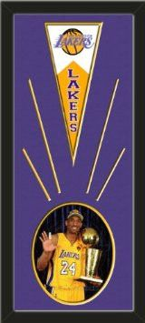 Los Angeles Lakers Wool Felt Mini Pennant & Kobe Bryant Photo - Framed With Team Color Double Matting In A Quality Black Frame-Awesome & Beautiful