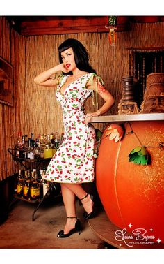 Pinup Couture - Anna Dress in White Cherry Print | Pinup Girl Clothing