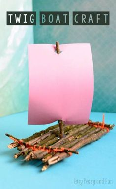 Twig Boat Craft - Fun nature craft for kids to make - Spring & Summer Kids Crafts & Activities - Kids Crafts, Boat Crafts, Crafts For Kids To Make, Summer Crafts, Easy Crafts, Kids Nature Crafts, Crafts For Camp, Nature For Kids, Camping Crafts For Kids