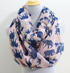 64743322dc9df Pink Elephant Infinity Scarf Light Pink Scarf with Blue Elephant Infinity  scarf White Elephant Scarf #