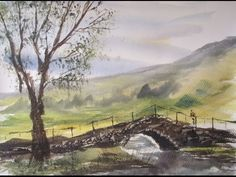Painting a simple bridge in watercolour - YouTube