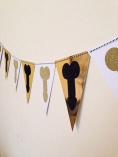 This is a large handmade penis banner PERFECT for your Bachelorette Party, Hen Party, or Penis Party! -Order Details-  Each order includes one banner that consists of 6 black foil and 6 gold foil banner pennants for a total of 12. Black & white twine or white twine included in order. Banner is not pre-strung. Each glitter penis cutout is made of premium glitter paper, each banner piece is made of premium white and gold foil card stock. -Size-  6 black foil and 6 gold foil banner triangles...