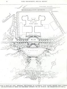 1922 Plan for the MFA on Huntington Avenue Parks Department, Massachusetts, Museum, How To Plan, Museums