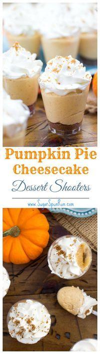 No bake pumpkin pie cheesecake dessert shooters, a great, unique Thanksgiving…