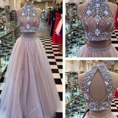 Sexy Two Piece Prom Dress High Neck Evening Dress Tulle with Rhinestone Dresses High Quality - Thumbnail 2