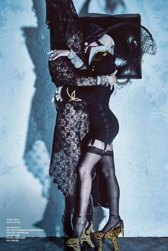 Lady Gaga & Daphne Guinness with a tribute to Alexander McQueen by Steven Klein
