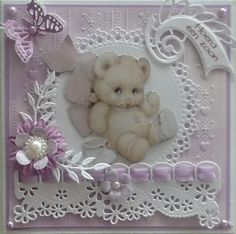 Idea for baby girl or young girl. Baby Girl Cards, New Baby Cards, Pretty Cards, Cute Cards, Baby Scrapbook, Scrapbook Cards, Pinterest Cards, Baby Barn, Spellbinders Cards