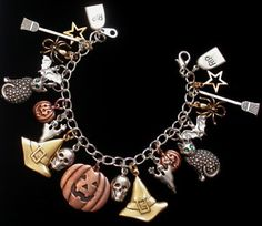 "Halloween Charm Bracelet 7"" Mixed Metal Copper Silver Gold Plate Cat Scull Ghost 