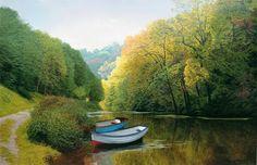 MICHAEL JAMES SMITH - Barcos a remo no rio Lathkill, Lathkilldale Óleo sobre tela
