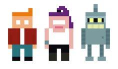 Pixelrama: The Planet Express Crew Minimalist Futurama pixelart