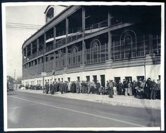 A rare 1935 photograph of Wrigley Field with its, then, wrought iron facade