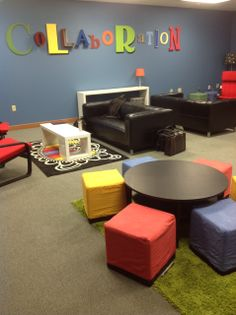 Classroom space, but with a more flexible design. This allows for group collaboration, perfect for constructivism learning.                                                                                                                                                                                 More