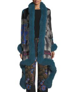 Paisley Shawl with Fur Trim