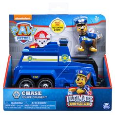 Paw Patrol 6045905 Chase's Ultimate Rescue Police Cruiser With Lifting Seat And Fold Out Barricade Mini Moto, Paw Patrol Characters, Police, Paw Patrol Toys, Rescue Vehicles, Kid Bathroom Decor, Age 3, Fisher Price, A Team