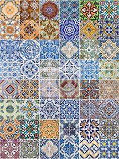 Sticker Set van 48 keramische tegels patronen