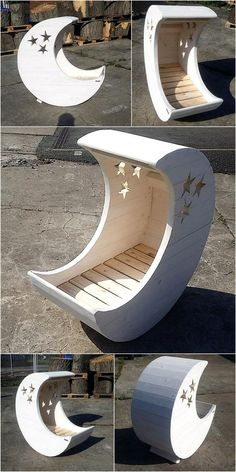 we have an idea of recycled wood pallet made baby cradle moon and star which you may like to copy.
