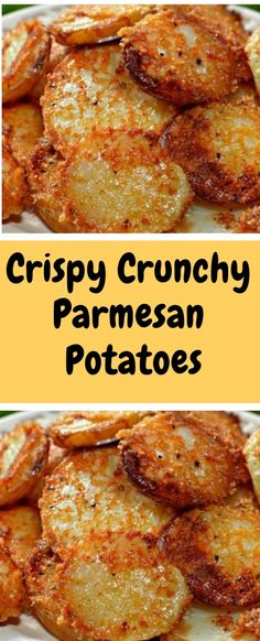 Crispy Crunchy Parmesan Potatoes Ingredients cup finely grated Parmesan cheese with a sand consistency (don't use shredded or Microplaned Parmes. Side Dish Recipes, Vegetable Recipes, Dinner Recipes, Dinner Ideas, Potato Dishes, Food Dishes, Vegetable Side Dishes, Food To Make, Cooking Recipes