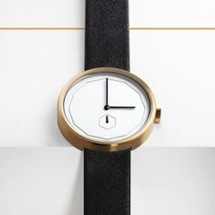 The Classic Neu in gold features a 38mm stainless steel case in brushed gold and a dodecagon-shaped index. #watches #design