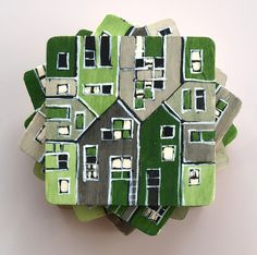 wood tile coasters hand painted green grey by archcessoires