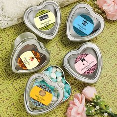 Personalized Heart Shaped Silver Mint Tins (FashionCraft 4680ST) | Buy at Wedding Favors Unlimited (http://www.weddingfavorsunlimited.com/personalized_heart_shaped_silver_mint_tins.html).