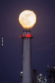 24    2285  The super moon over an oil refinery chimney #lol #funny #rofl #memes #lmao #hilarious #cute