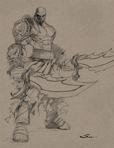 KRATOS SKETCH by Sandoval-Art on DeviantArt