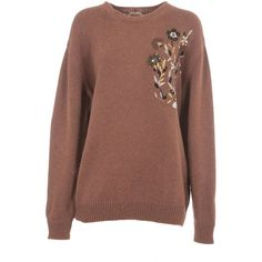N 21 Sequin Embellished Sweater (1.825 BRL) ❤ liked on Polyvore featuring tops, sweaters, brown, crew neck sweaters, long sleeve sequin top, brown sweater, brown crew neck sweater and long sleeve tops