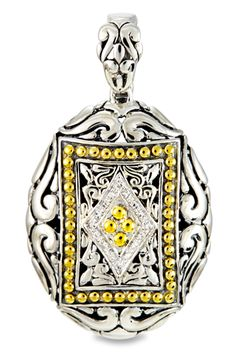 Diamond Sterling Silver Pendant with 18K Gold Accents   Cirque Jewels