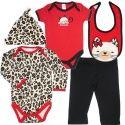 Vauvan 5-osainen punamusta leopardipilkullinen vaatesetti. Setissä mukana pitkähihainen body, lyhythihainen body, myssy, housut ja ruokalappu.