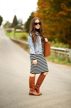 stripes, denim, cognac