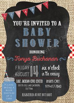 Burlap Denim Gingham Baby Shower Printable by SavvyDeetsDesigns