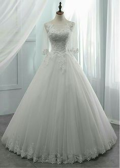 DressilyMe Bridal Dresses Online, Wedding Dresses Ball Gown, Fabulous Tulle Scoop Neckline with Lace Trims Bridal Dresses Online, Best Wedding Dresses, Tulle Wedding, Boho Wedding Dress, Bridal Gowns, 40s Wedding, Modest Wedding, Casual Wedding, Ball Dresses