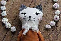 KITTY DOLL Handmade Cloth Doll Cat Plush One of by filomeluna