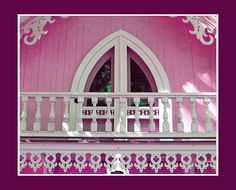 Balcony of a carpenter gothic cottage.