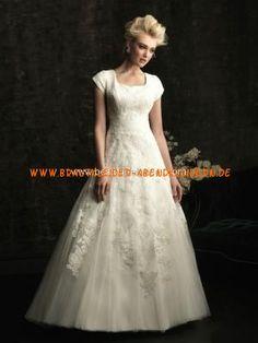 Festliches schönes Brautkleid aus Organza Bodenlang A-Linie kurze Ärmel