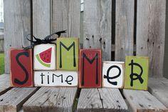 Summer watermelon  Wood Block Set Seasonal Home Decor Primitive Seasonal Gift Birthday AmericanaSign