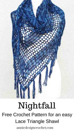 Nightfall - Free crochet pattern for triangle shawl - Annie Design Crochet Crochet Shawl Free, Crochet Shawls And Wraps, Basic Crochet Stitches, Easy Crochet Patterns, Crochet Scarves, Crochet Granny, Bohemian Crochet Patterns, Stitch Patterns, Knitting Patterns