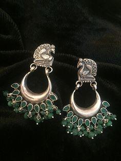 Chaand Green Peacock Studs Silver Earrings
