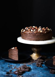 Stacks on stacks of chocolate crêpes and hazelnut pastry cream make for a stunning layered cake.