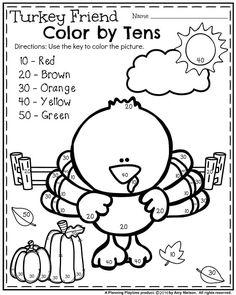 Fun November Kindergarten Worksheet - Turkey Friend Color by Tens. Turkey Kindergarten, Homeschool Kindergarten, Kindergarten Worksheets, Homeschooling, Kindergarten Thanksgiving, Fall Preschool, Thanksgiving Worksheets, Thanksgiving Coloring Pages, Thanksgiving Crafts