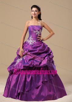 Appliques Strapless Pick-ups Purple Floor-length Quinceanera Gown Dresses