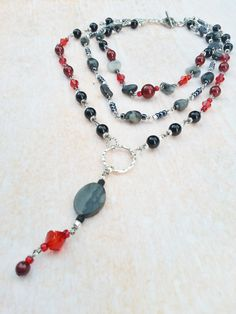Necklace Black Red Swarovski Pearls
