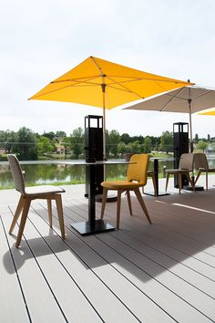 UPM ProFi Deck 150 is suitable for many applications. Restaurant in France with Silver Green composite decking. Wpc Decking, Composite Decking, Granite, Restaurants, Patio, Colours, Garden, Outdoor Decor, Home Decor