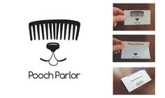 Logo and business card for Pooch Parlor dog grooming from SDPS student Mary Kane