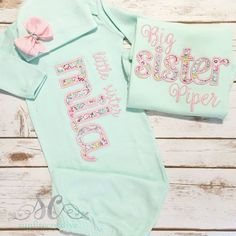 Big Sister Little Sister Outfits -Matching Sister Shirts - Big Sister Shirt - Baby Girl Coming Home Outfit - Newborn Photo Outfit - Reveal