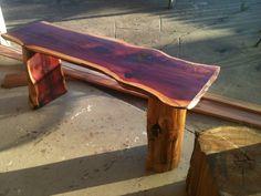 "This is a 4ft. 2"" thick Cedar bench I made..ronbond@cmaaccess.com"